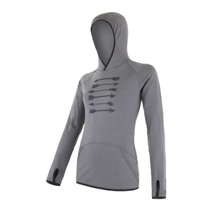 Women hoodie Sensor MERINO UPPER ARROWS grey 18200043, Sensor