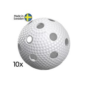 Set floorball balls Salming Aero Ball 10-pack White, Salming